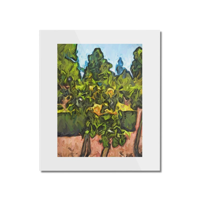 The Yellow Roses and the Green Trees Home Mounted Acrylic Print by jackievano's Artist Shop