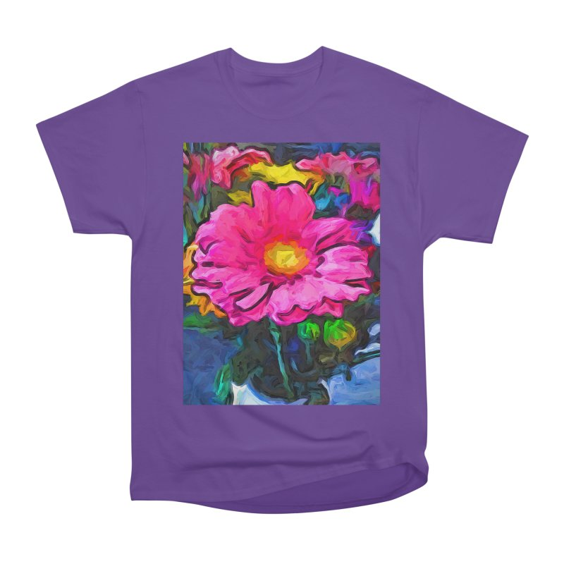 The Pink and Yellow Flower Women's Heavyweight Unisex T-Shirt by jackievano's Artist Shop