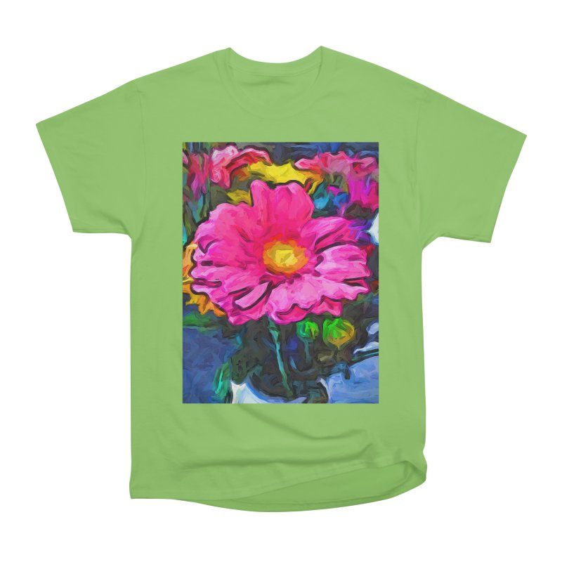 The Pink and Yellow Flower Men's Heavyweight T-Shirt by jackievano's Artist Shop