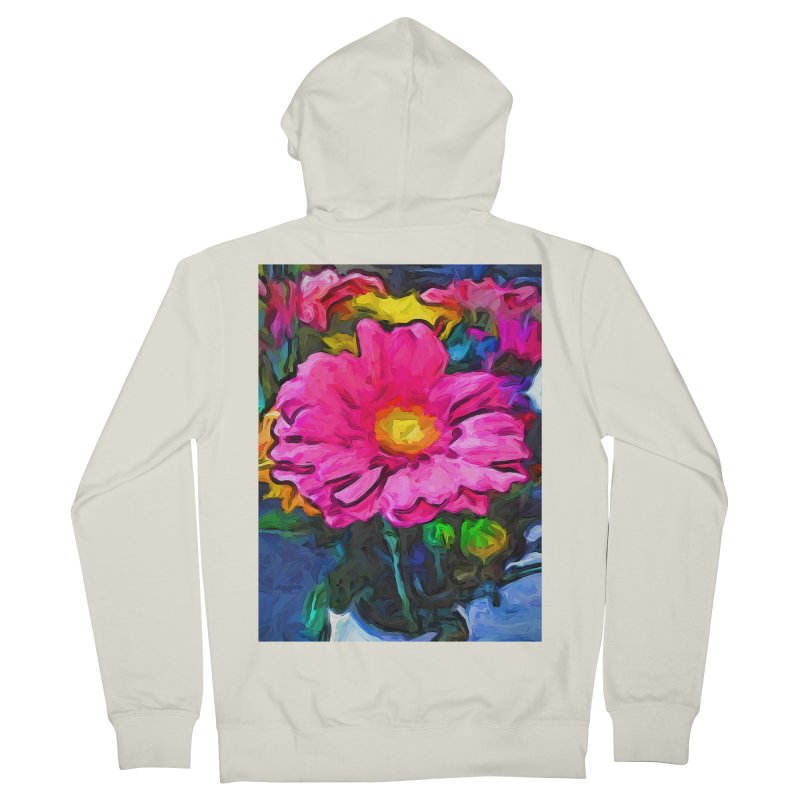 The Pink and Yellow Flower Men's Zip-Up Hoody by jackievano's Artist Shop