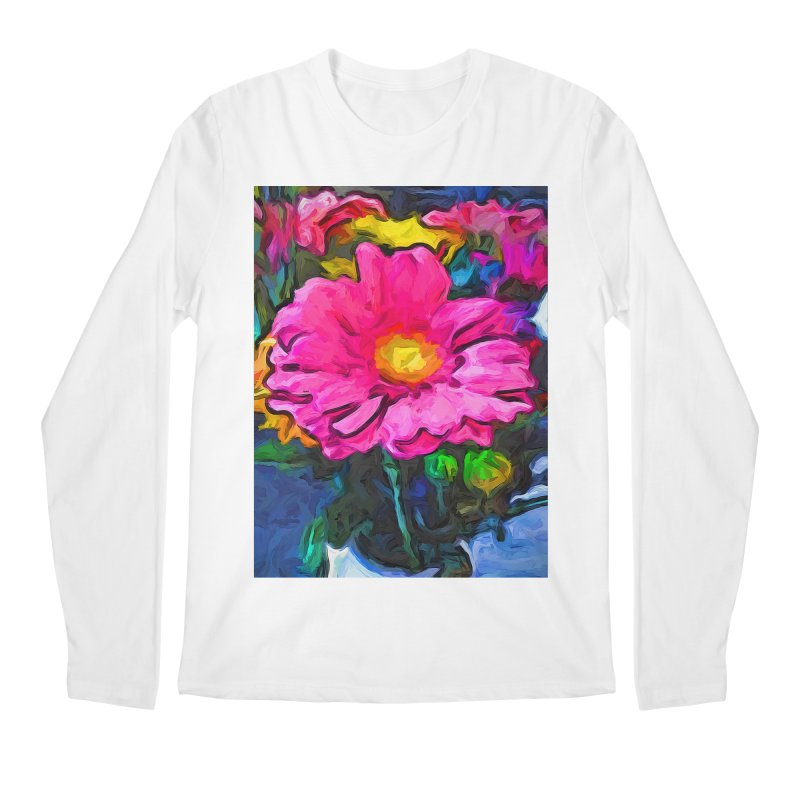 The Pink and Yellow Flower Men's Longsleeve T-Shirt by jackievano's Artist Shop