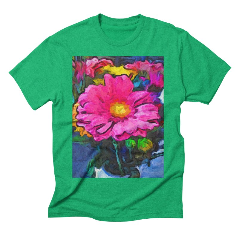 The Pink and Yellow Flower Men's Triblend T-Shirt by jackievano's Artist Shop
