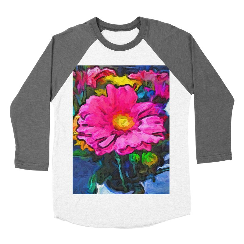 The Pink and Yellow Flower Women's Baseball Triblend T-Shirt by jackievano's Artist Shop