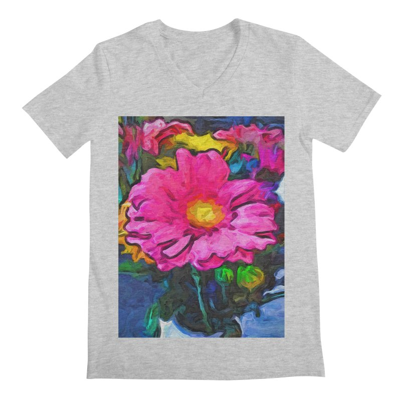 The Pink and Yellow Flower Men's V-Neck by jackievano's Artist Shop