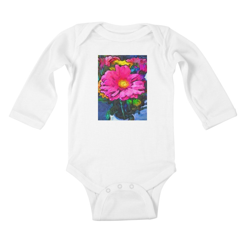 The Pink and Yellow Flower Kids Baby Longsleeve Bodysuit by jackievano's Artist Shop