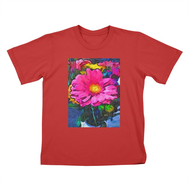 The Pink and Yellow Flower Kids T-Shirt by jackievano's Artist Shop