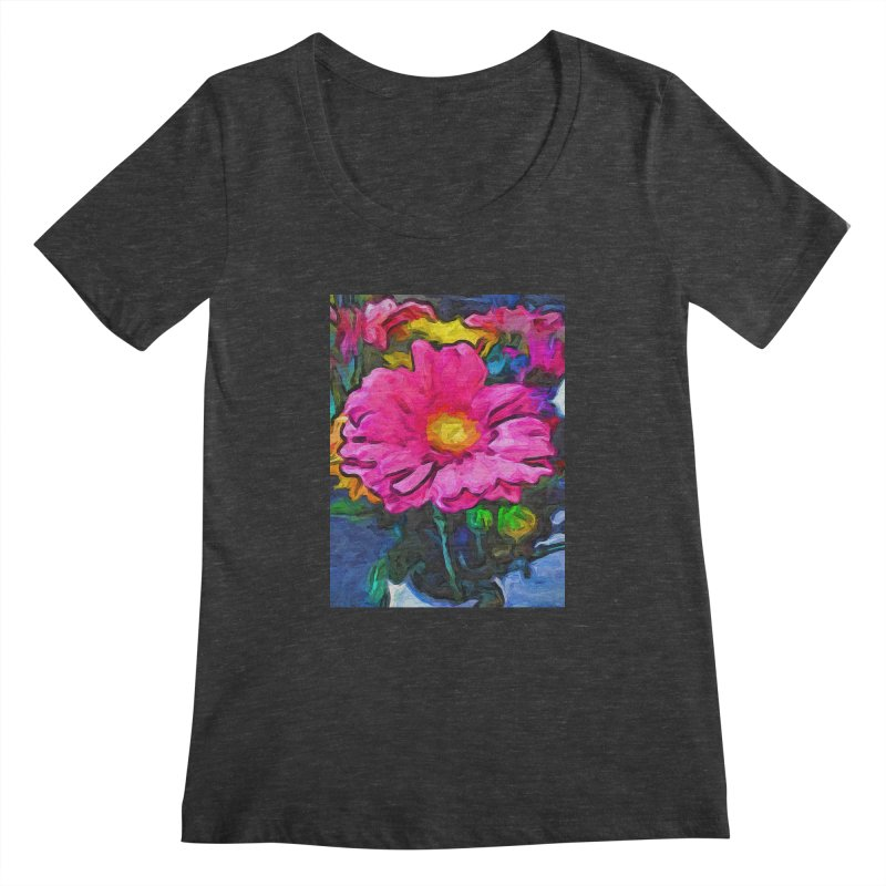 The Pink and Yellow Flower Women's Scoopneck by jackievano's Artist Shop