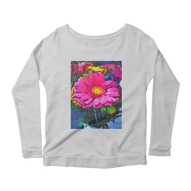 The Pink and Yellow Flower Women's Longsleeve Scoopneck  by jackievano's Artist Shop