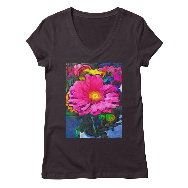 The Pink and Yellow Flower Women's V-Neck by jackievano's Artist Shop