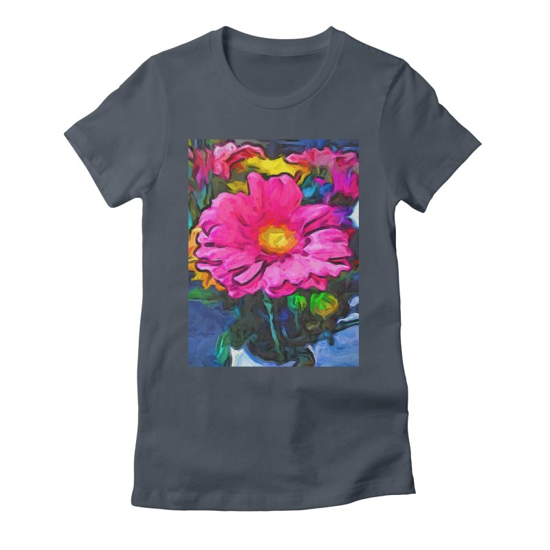 The Pink and Yellow Flower Women's Fitted T-Shirt by jackievano's Artist Shop