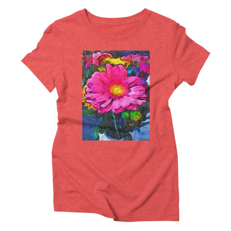 The Pink and Yellow Flower Women's Triblend T-Shirt by jackievano's Artist Shop