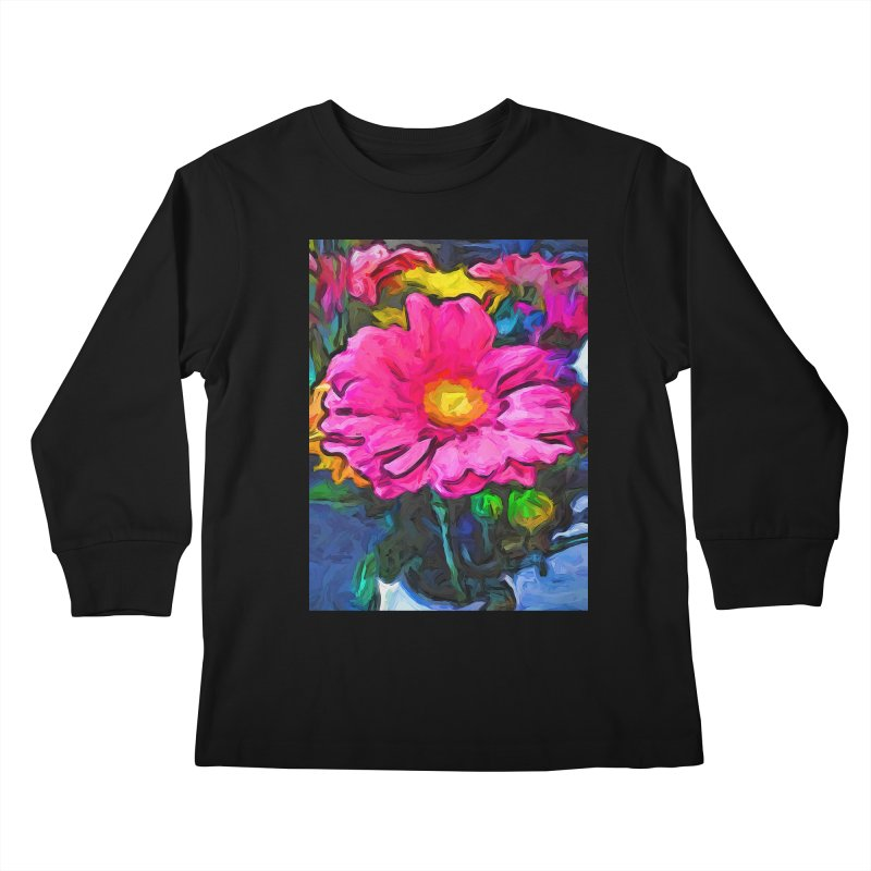 The Pink and Yellow Flower Kids Longsleeve T-Shirt by jackievano's Artist Shop