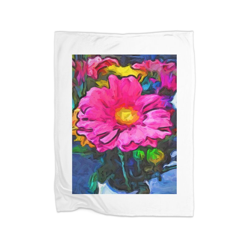 The Pink and Yellow Flower Home Blanket by jackievano's Artist Shop
