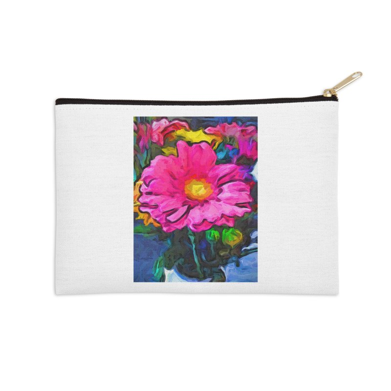 The Pink and Yellow Flower Accessories Zip Pouch by jackievano's Artist Shop