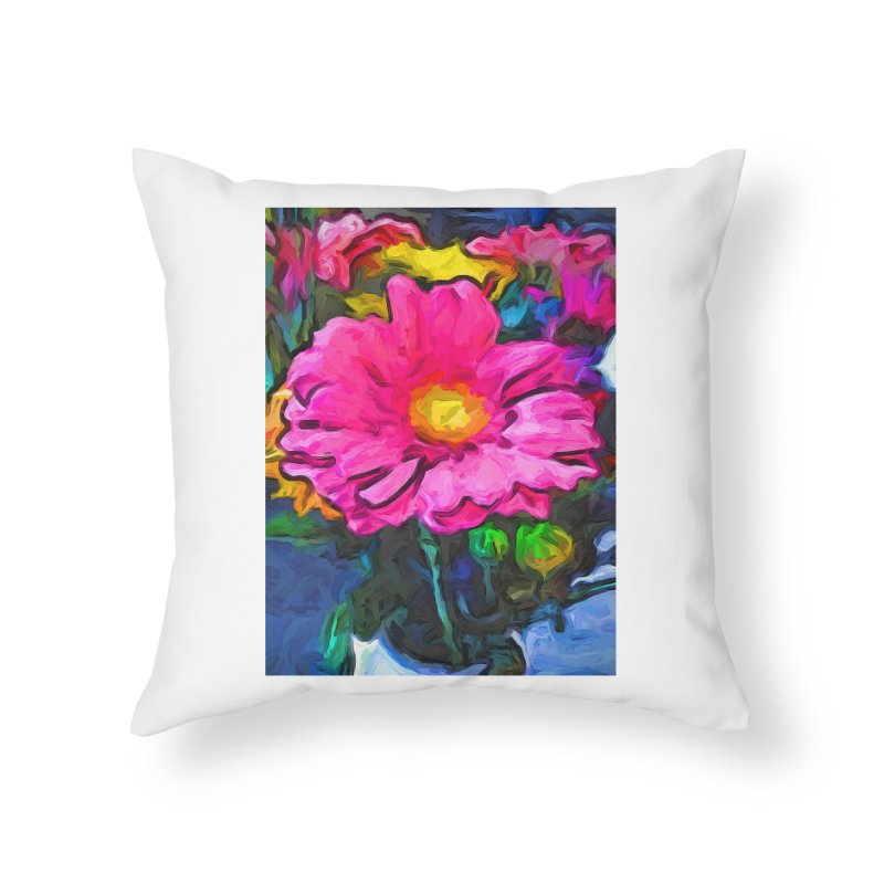 The Pink and Yellow Flower Home Throw Pillow by jackievano's Artist Shop
