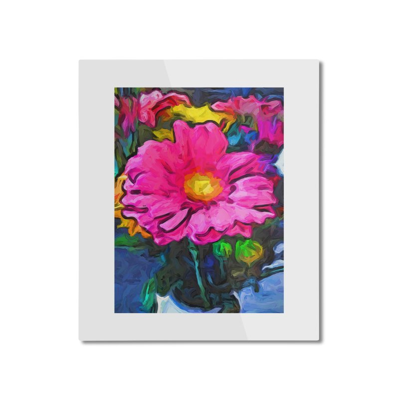 The Pink and Yellow Flower Home Mounted Aluminum Print by jackievano's Artist Shop