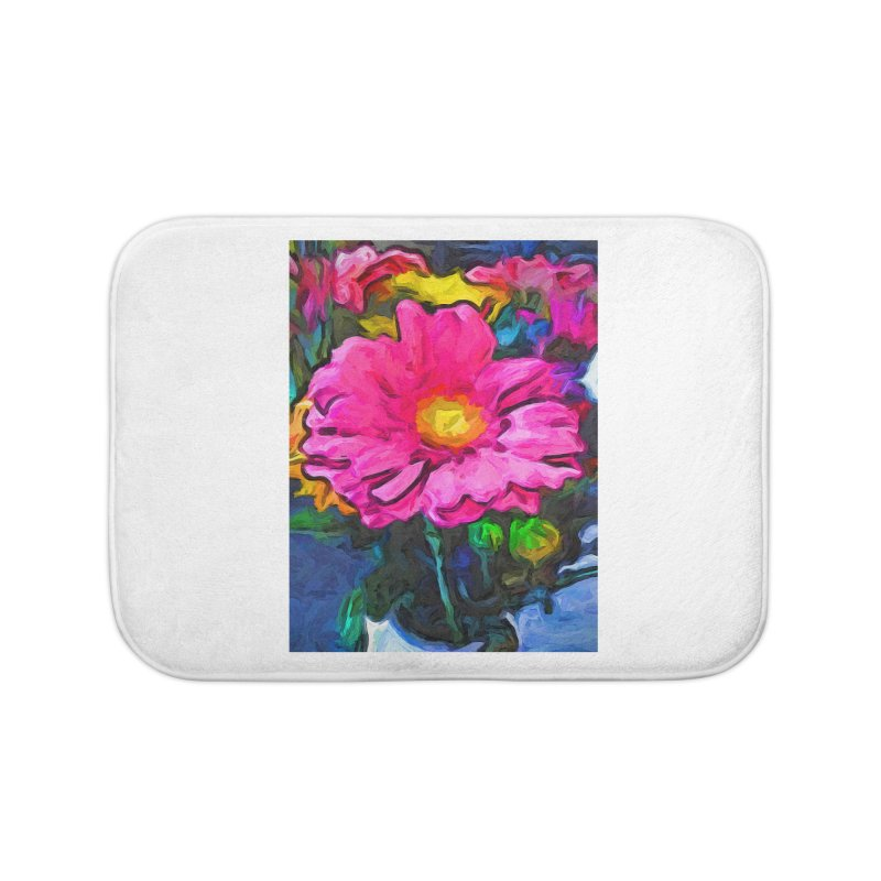 The Pink and Yellow Flower Home Bath Mat by jackievano's Artist Shop