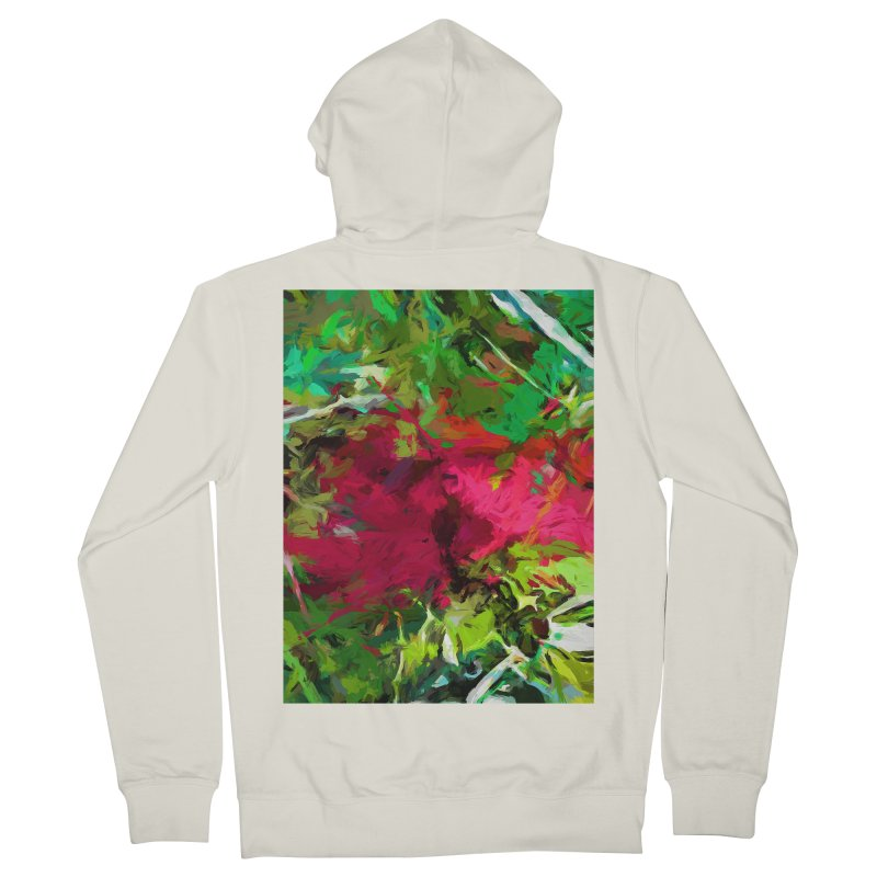 Flower Christmas Red Green Pink Women's French Terry Zip-Up Hoody by jackievano's Artist Shop