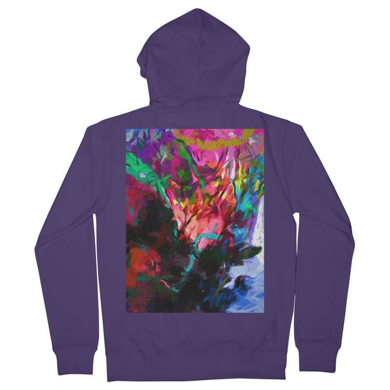 Rainbow Flower Rhapsody Red Turquoise Blue Women's French Terry Zip-Up Hoody by jackievano's Artist Shop