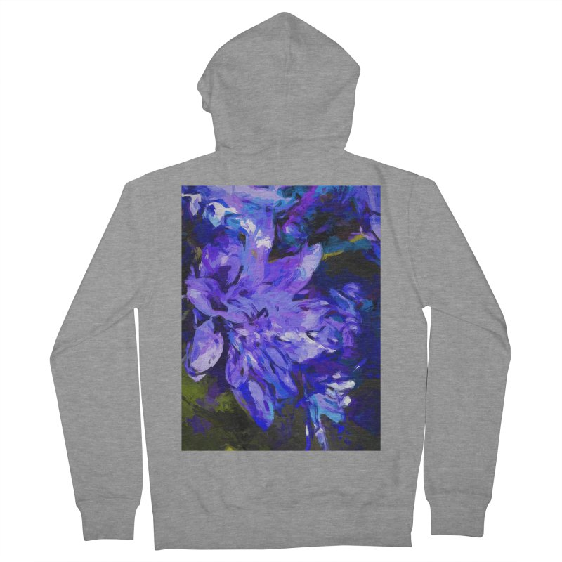 Flower Lavender Lilac Cobalt Blue Women's French Terry Zip-Up Hoody by jackievano's Artist Shop