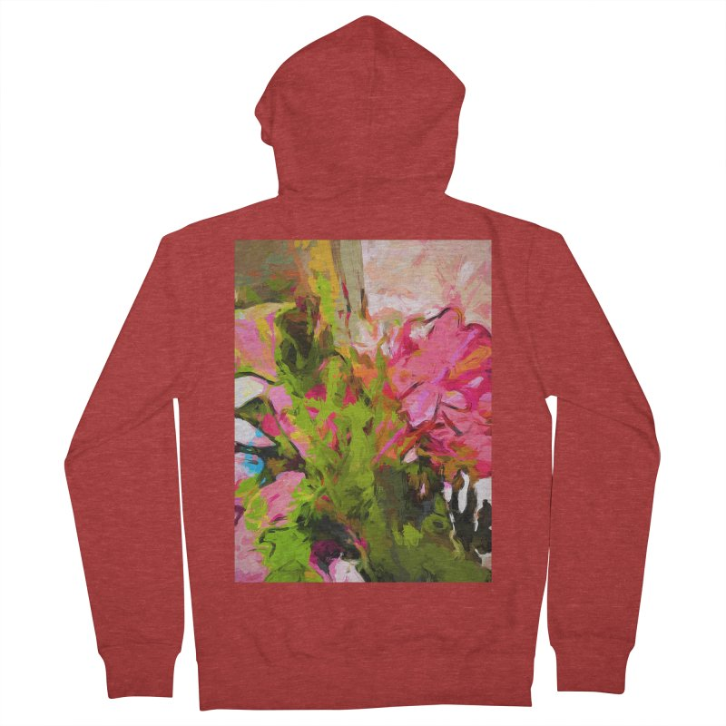 Flower Ecstasy Pink Tropical Green Women's French Terry Zip-Up Hoody by jackievano's Artist Shop