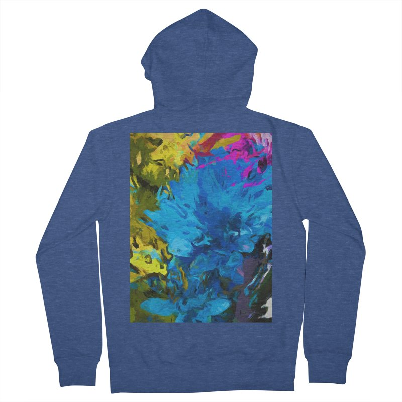 Flower Fantasy Blue Pink Splatter Women's French Terry Zip-Up Hoody by jackievano's Artist Shop