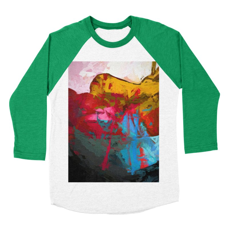 September Splash Apple Banana Turquoise Pink Women's Baseball Triblend Longsleeve T-Shirt by jackievano's Artist Shop