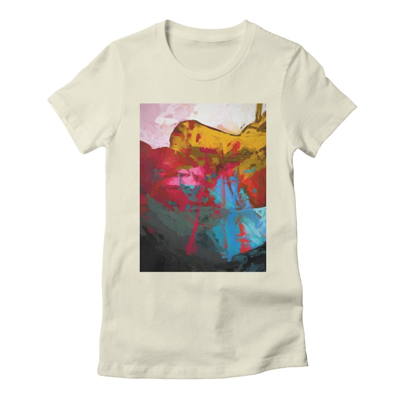 September Splash Apple Banana Turquoise Pink Women's Fitted T-Shirt by jackievano's Artist Shop