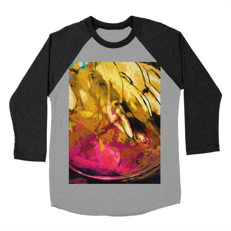 Banana Yellow Pink Splatter True Men's Baseball Triblend Longsleeve T-Shirt by jackievano's Artist Shop