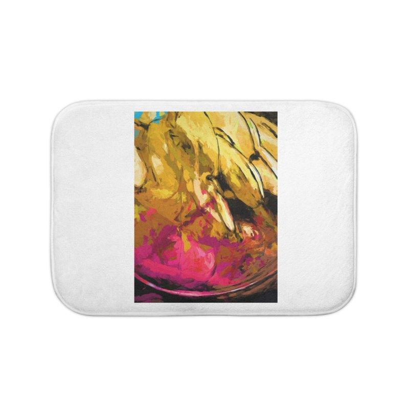 Banana Yellow Pink Splatter True Home Bath Mat by jackievano's Artist Shop