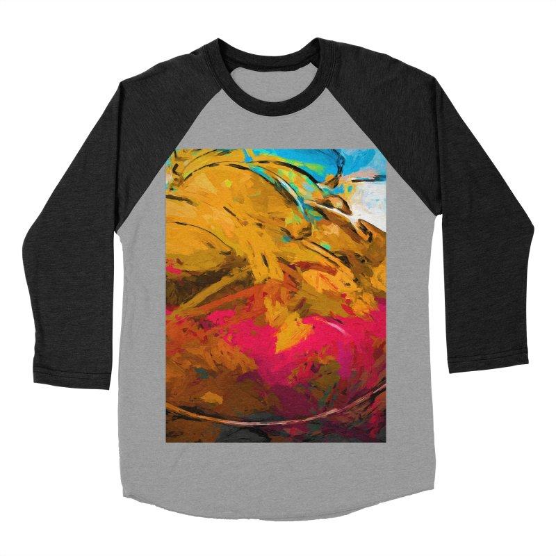 Banana Turquoise Gold Hot Pink Men's Baseball Triblend Longsleeve T-Shirt by jackievano's Artist Shop