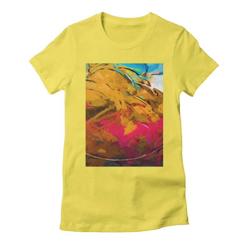 Banana Turquoise Gold Hot Pink Women's Fitted T-Shirt by jackievano's Artist Shop