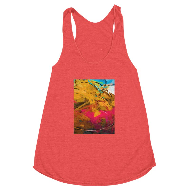 Banana Turquoise Gold Hot Pink Women's Racerback Triblend Tank by jackievano's Artist Shop