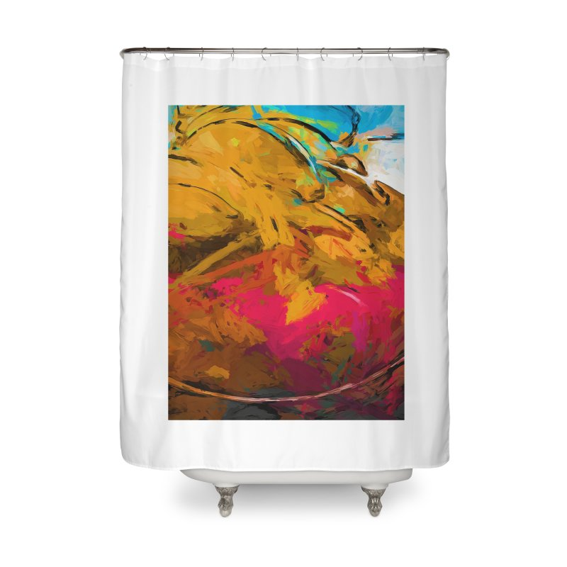 Banana Turquoise Gold Hot Pink Home Shower Curtain by jackievano's Artist Shop