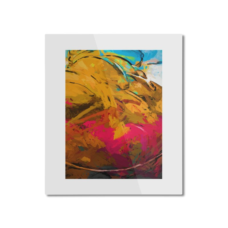 Banana Turquoise Gold Hot Pink Home Mounted Aluminum Print by jackievano's Artist Shop