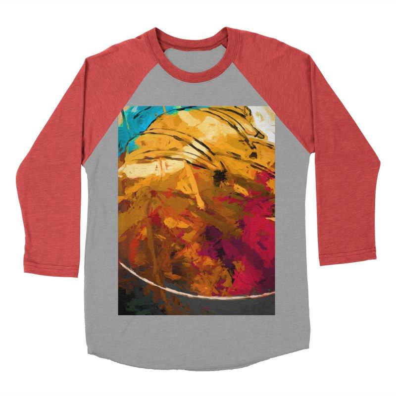 Banana Apple Orange Rainbow Spatter Men's Baseball Triblend Longsleeve T-Shirt by jackievano's Artist Shop