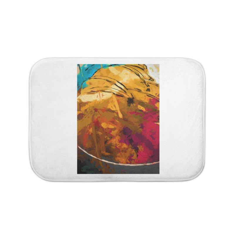 Banana Apple Orange Rainbow Spatter Home Bath Mat by jackievano's Artist Shop