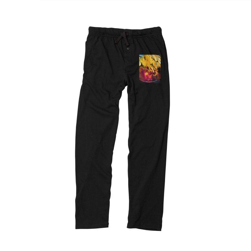 Banana Yellow Pink Splatter Tendril Women's Lounge Pants by jackievano's Artist Shop