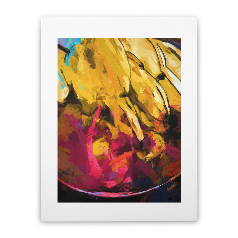 Banana Yellow Pink Splatter Tendril Home Stretched Canvas by jackievano's Artist Shop