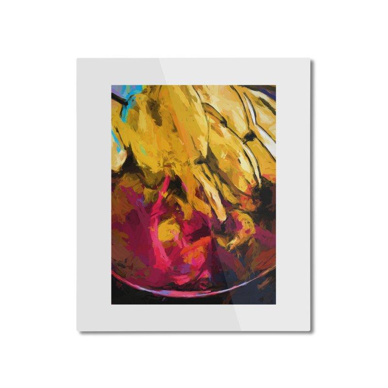 Banana Yellow Pink Splatter Tendril Home Mounted Aluminum Print by jackievano's Artist Shop
