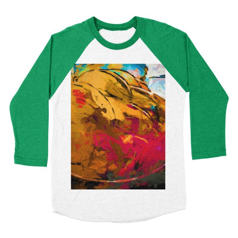 Banana Turquoise Gold Scarlet Men's Baseball Triblend Longsleeve T-Shirt by jackievano's Artist Shop