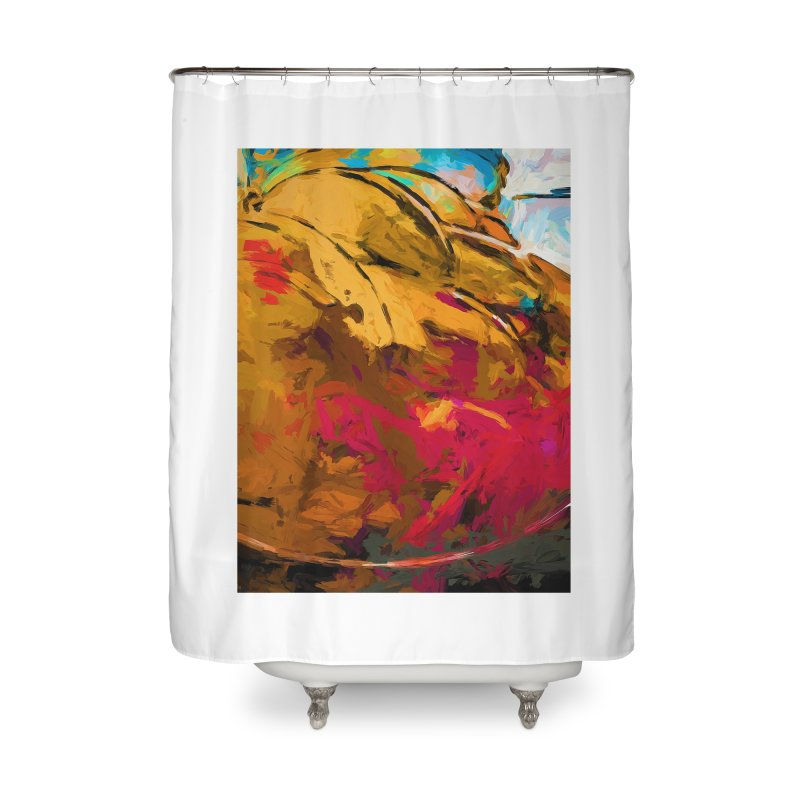 Banana Turquoise Gold Scarlet Home Shower Curtain by jackievano's Artist Shop