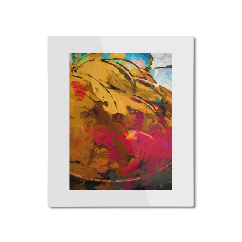 Banana Turquoise Gold Scarlet Home Mounted Aluminum Print by jackievano's Artist Shop