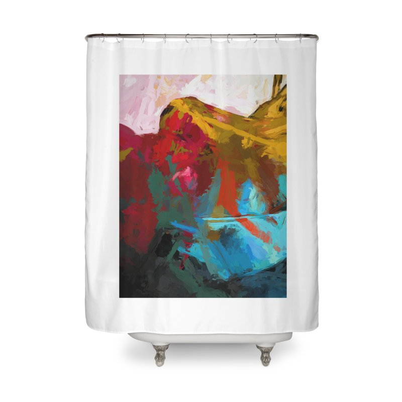 September Splash Apple Banana Turquoise Terracotta Home Shower Curtain by jackievano's Artist Shop