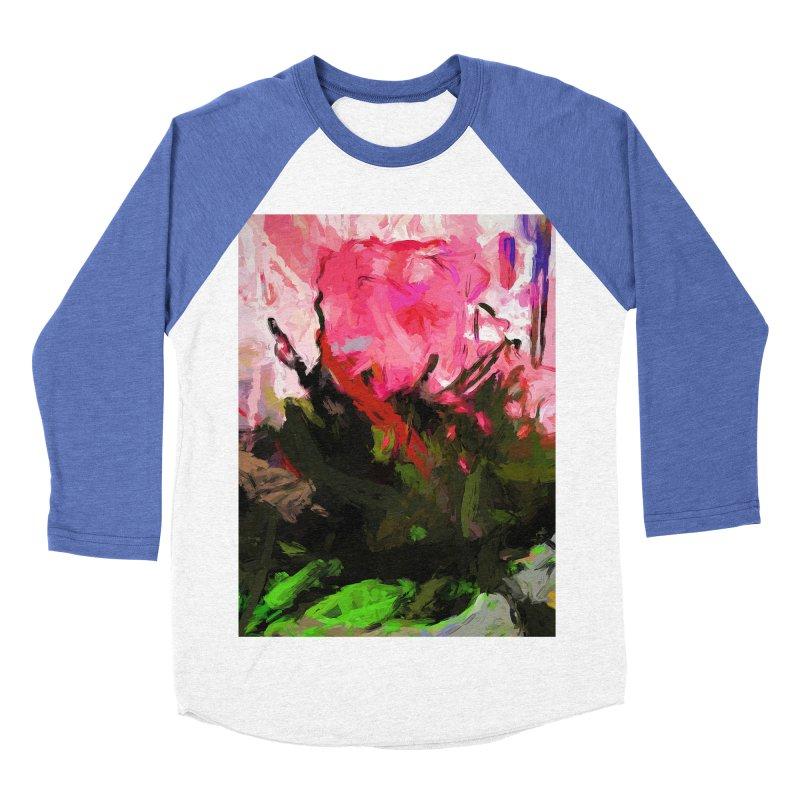 Rose Romantica Pink Flower Maelstrom Women's Baseball Triblend Longsleeve T-Shirt by jackievano's Artist Shop