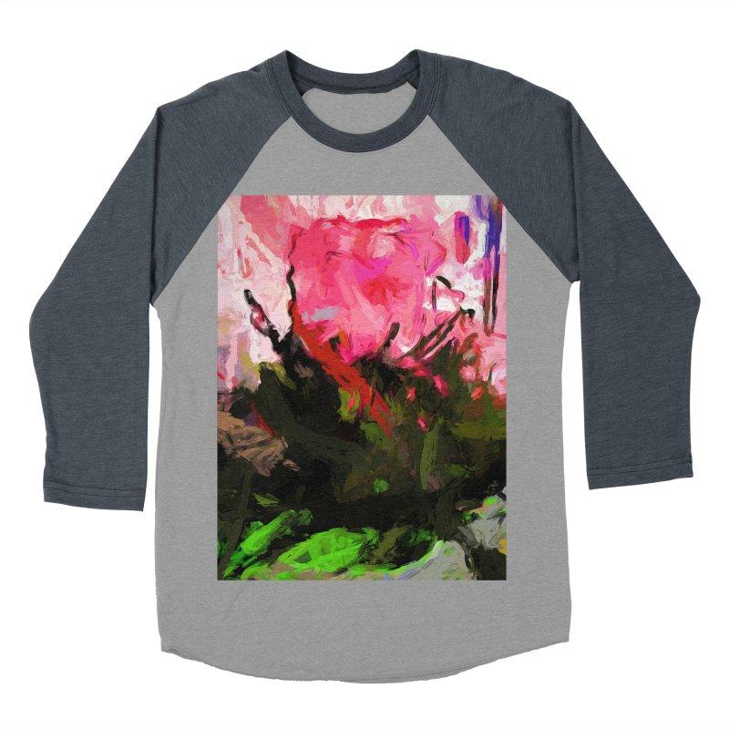 Rose Romantica Pink Flower Maelstrom Men's Baseball Triblend Longsleeve T-Shirt by jackievano's Artist Shop