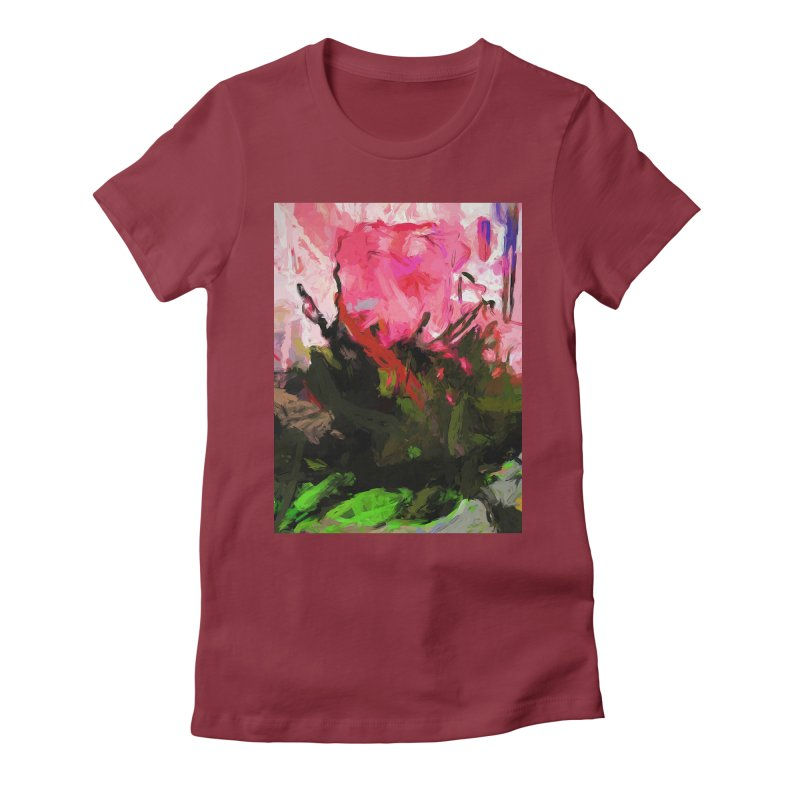 Rose Romantica Pink Flower Maelstrom Women's Fitted T-Shirt by jackievano's Artist Shop