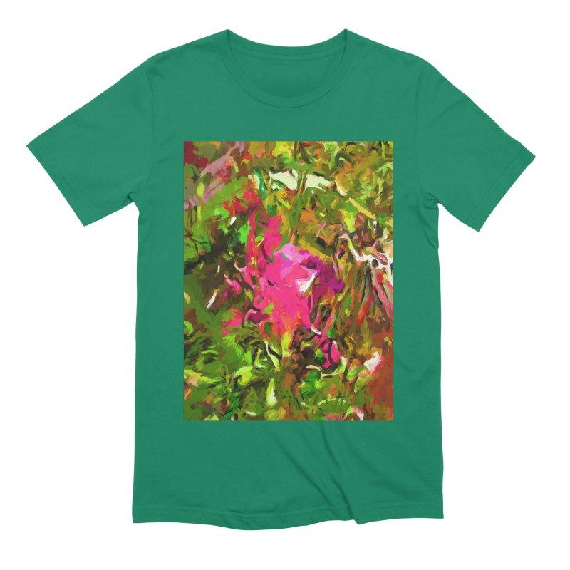 Rosebud Rhapsody Green Hot Pink Dab Men's Extra Soft T-Shirt by jackievano's Artist Shop