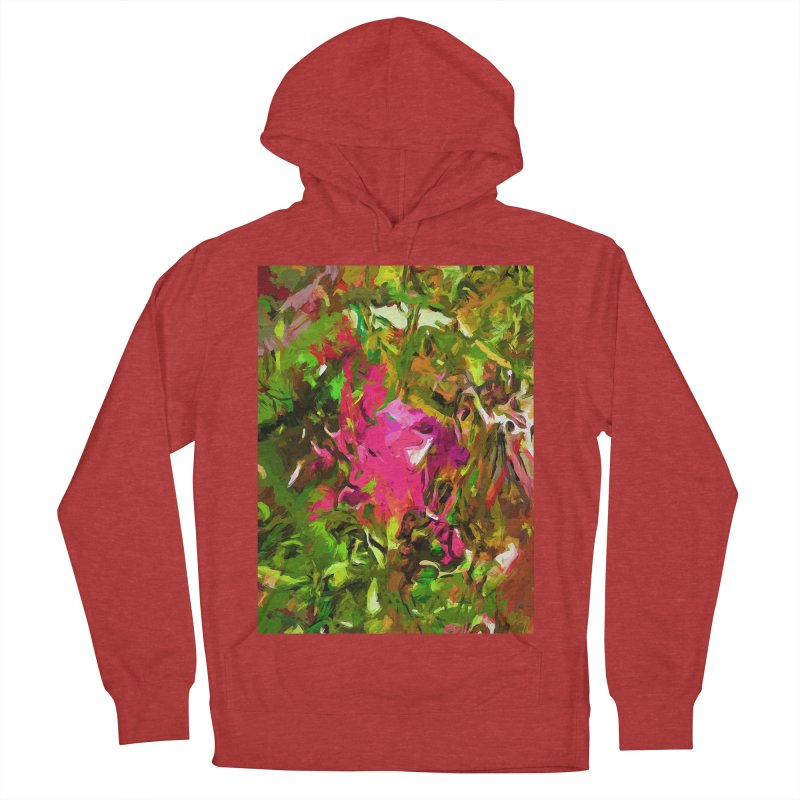 Rosebud Rhapsody Green Hot Pink Dab Women's French Terry Pullover Hoody by jackievano's Artist Shop