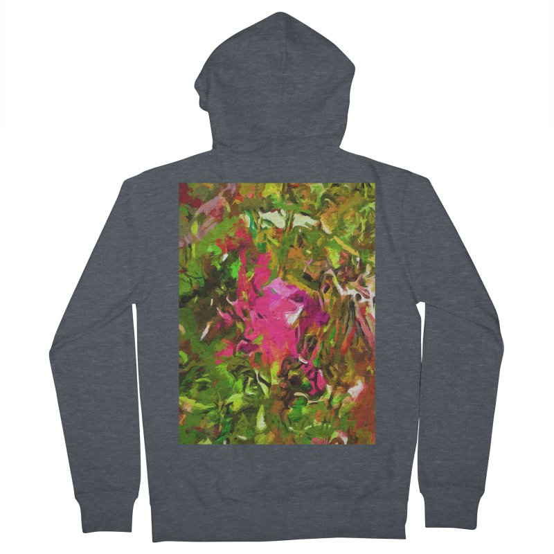Rosebud Rhapsody Green Hot Pink Dab Men's French Terry Zip-Up Hoody by jackievano's Artist Shop